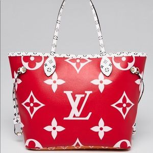 Authentic Louis Vuitton pink giant neverfull mm